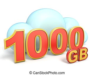Cloud icon 1000 GB storage capacity 3D rendering isolated on...