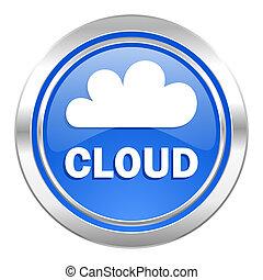 cloud icon, blue button