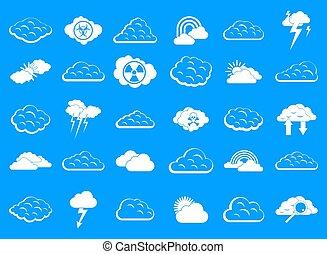 Cloud icon blue set