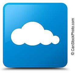 Cloud icon cyan blue square button