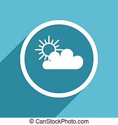 cloud icon, flat design blue icon, web and mobile app design illustration