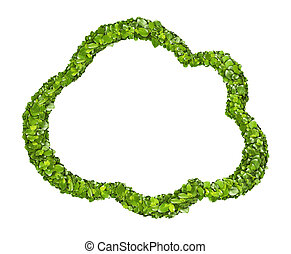 Cloud icon from the green grass. Isolated