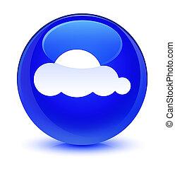 Cloud icon glassy blue round button