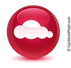 Cloud icon glassy pink round button