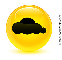 Cloud icon glassy yellow round button