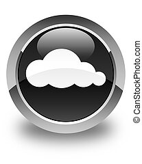 Cloud icon glossy black round button