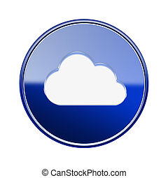 Cloud icon glossy blue, isolated on white background