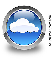 Cloud icon glossy blue round button