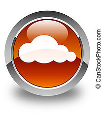 Cloud icon glossy brown round button