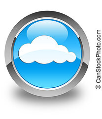 Cloud icon glossy cyan blue round button