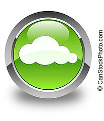 Cloud icon glossy green round button