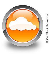Cloud icon glossy orange round button