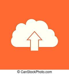 Cloud icon. Internet download symbol. Flat vector illustration on orange background.