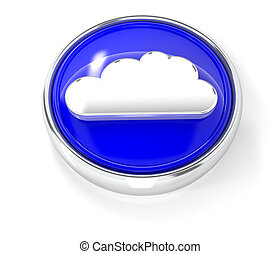 Cloud icon on glossy blue round button