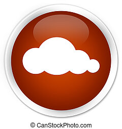 Cloud icon premium brown round button