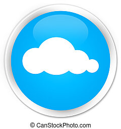 Cloud icon premium cyan blue round button
