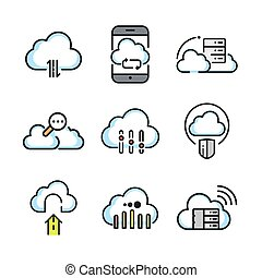 cloud icon set color