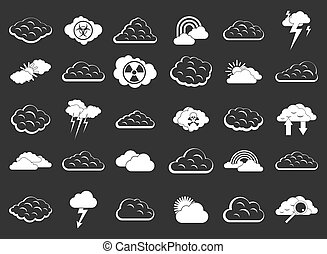 Cloud icon set grey