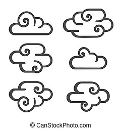 Cloud Icon Set on White Background. Vector