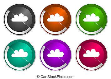 Cloud icon set, silver metallic web buttons