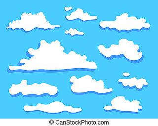 Cloud icon set white color .