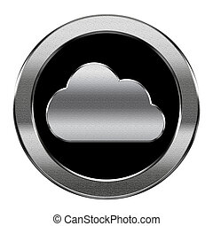 Cloud icon silver, isolated on white background.