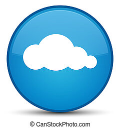 Cloud icon special cyan blue round button