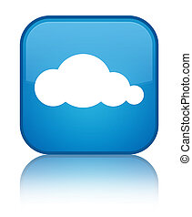 Cloud icon special cyan blue square button