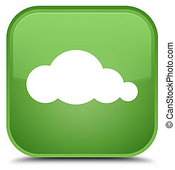 Cloud icon special soft green square button