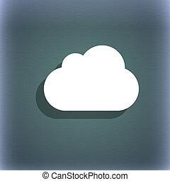 cloud icon symbol on the blue-green abstract background with shadow and space for your text.