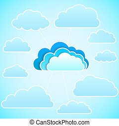 Blue cloud computing with connections to secondary clouds. Vector background