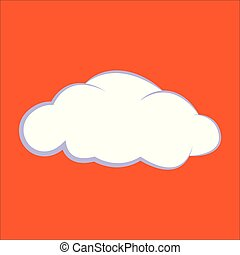 Cloud icon. Vector illustration, clouds on an orange background