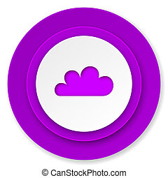 cloud icon, violet button, waether forecast sign
