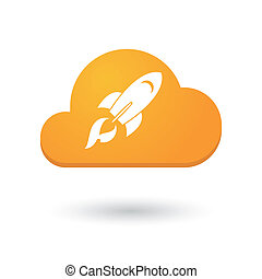 Cloud icon with a rocket