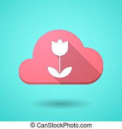 Cloud icon with a tulip