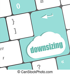 cloud icon with downsizing word on computer keyboard key