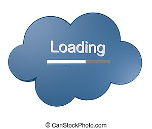 Cloud icon with Loading text - Blue cloud icon with Loading...