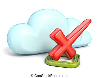 Cloud icon with red check mark 3D