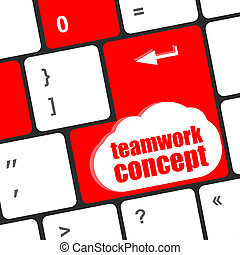 cloud icon with teamwork concept word on computer keyboard key