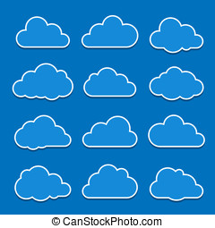 Cloud icons - Collection of cloud icons. Vector illustration