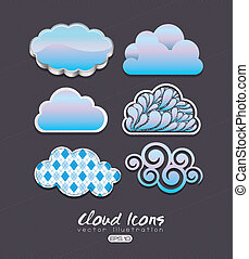 cloud icons over black bacground vector illustration