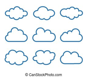 cloud icons set on white background