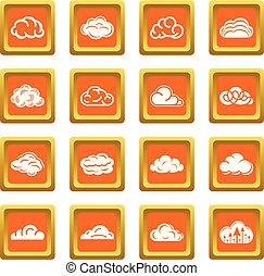 Cloud icons set orange square vector