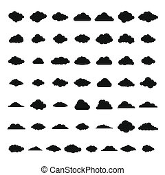 Cloud icons set, simple style