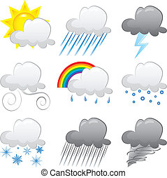 Cloud Icons - Vector Illustration of 9 cloud weather Icons. ...