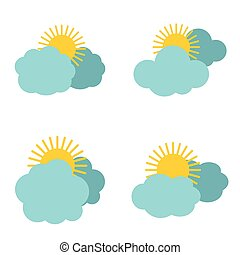 Cloud icons with sun on white background