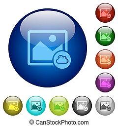 Cloud image color glass buttons