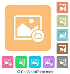Cloud image rounded square flat icons
