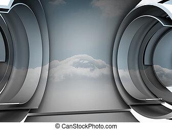Cloud in a futuristic structure