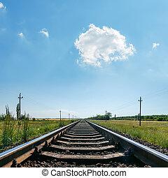 cloud in blue sky over railroad